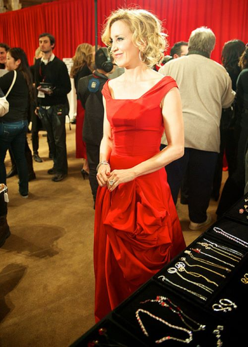 Felicity Huffman in Oscar de la Renta at the Swarovski accessories table for The Heart Truth's Red Dress Collection in 2010