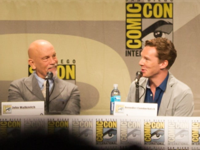John Malkovich (Left) and Benedict Cumberbatch at the 2014 San Diego Comic-Con International