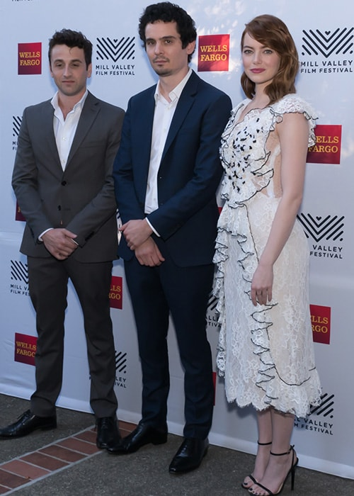 Justin Hurwitz with Emma Stone and Damien Chazelle at the 39th Mill Valley Film Festival