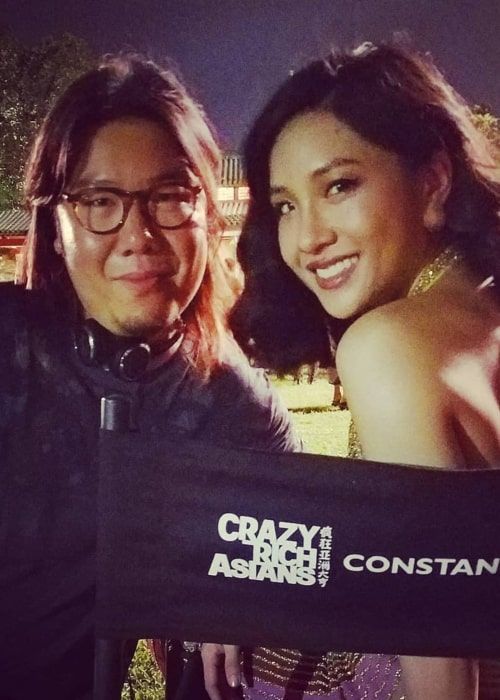 Kevin Kwan as seen in a with Constance Wu on the set of Crazy Rich Asians in Los Angeles, California