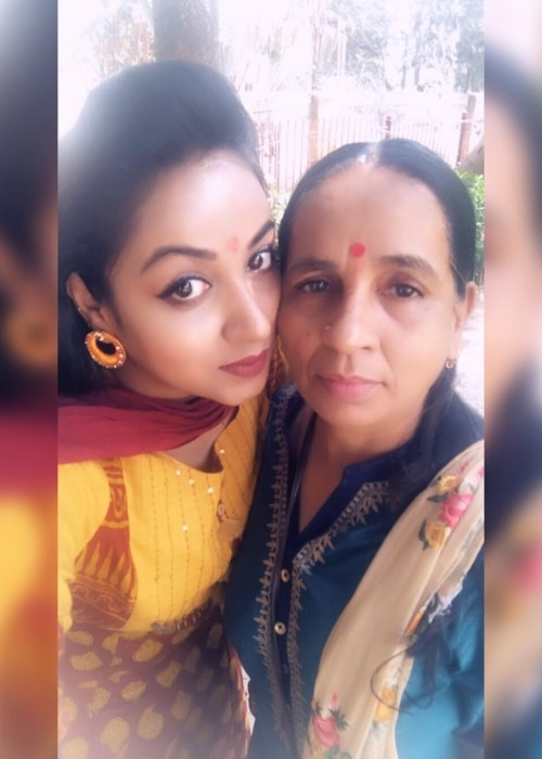 Madhusree Sharma as seen in a picture with her mother taken in March 2019