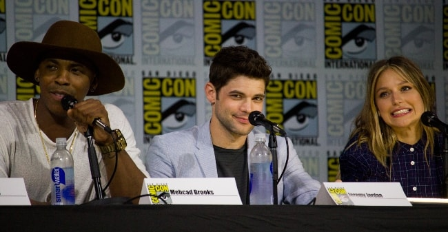 Mehcad Brooks with Jeremy Jordan (Center) and Melissa Benoist at the San Diego Comic-Con International in July 2017