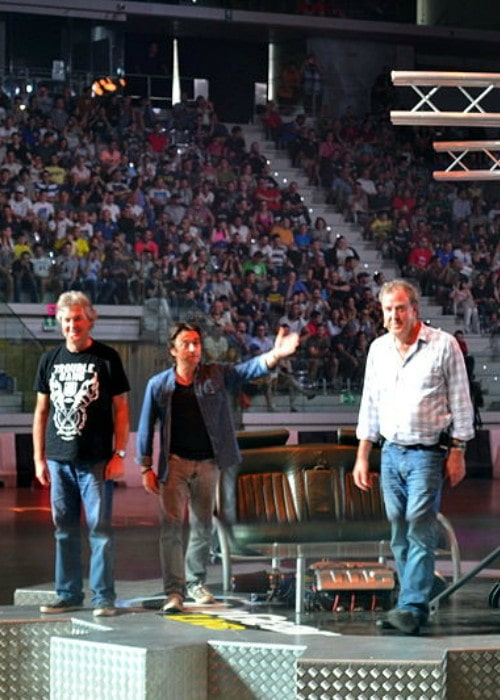 Richard Hammond as seen presenting the show Top Gear along with co-hosts James May and Jeremy Clarkson in July 2014