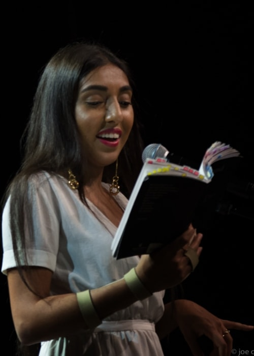 Rupi Kaur pictured in Vancouver, Canada during one of her performances during the 2017 world tour