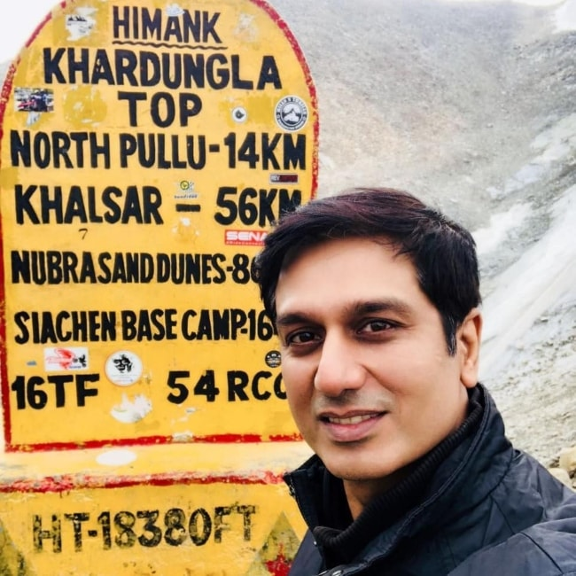 Sachin Khurana as seen in a selfie taken in Khardung La, Ladakh in July 2018