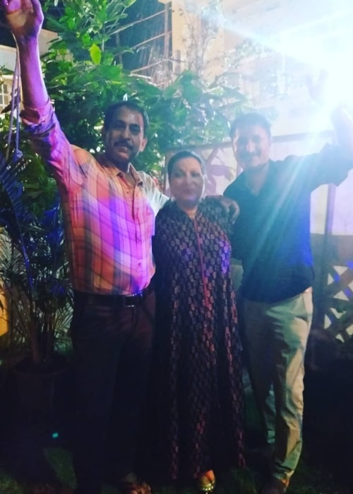 Sanjay Batra as seen in a picture with Abha Parmar and Chandresh Singh at Film City, Goregaon in October 2018