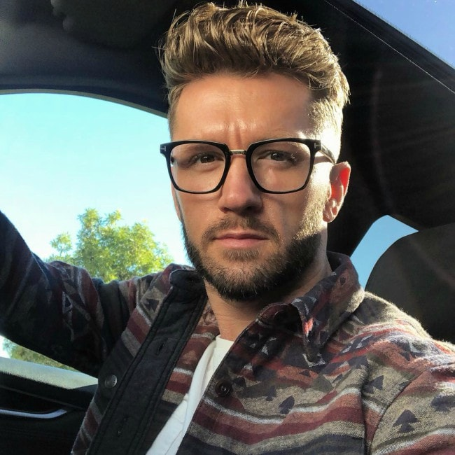 Travis Wall as seen in an Instagram selfie in February 2019