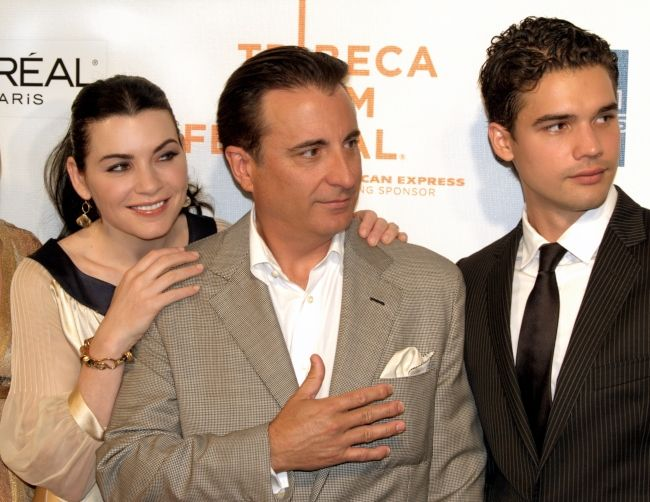 Actors Julianna Margulies, Andy Garcia, and Steven Strait at the Film Premiere of City Island in 2009