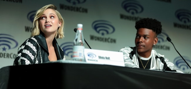 Aubrey Joseph as seen with Olivia Holt at the 2018 Wonder-Con for 'Cloak & Dagger' at the Anaheim Convention Center in Anaheim, California, United States
