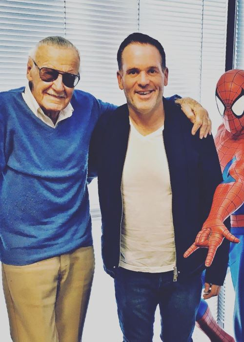 Chris Moyles with Stan Lee as seen on his Instagram Profile in November 2018