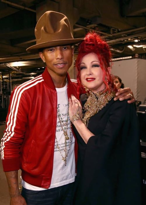 Cyndi Lauper with Pharrell Williams in April 2019