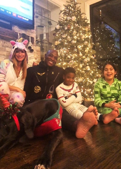 DeMarcus Ware as seen with his girlfriend, Angela Daniel, and his children in a Christmas picture in December 2018