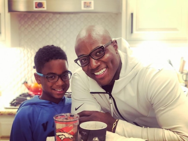 DeMarcus Ware as seen with his son, DeMarcus Ware, II, enjoying their 'Milkshake Sundays' in Southlake, Texas, United States in February 2019