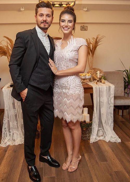 Deniz Baysal with her fiance, Barış Yurtçu, at their engagement party in November 2018