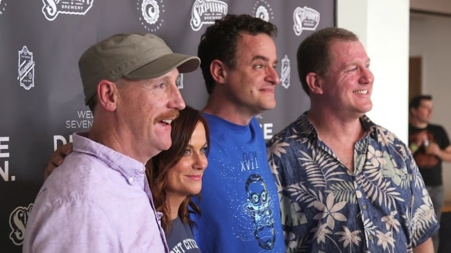 From Left to Right - Matt Walsh, Amy Poehler, Matt Besser, and Ian Roberts as seen while posing at the 17th annual Del Close Marathon in New York City, New York, United States in June 2015
