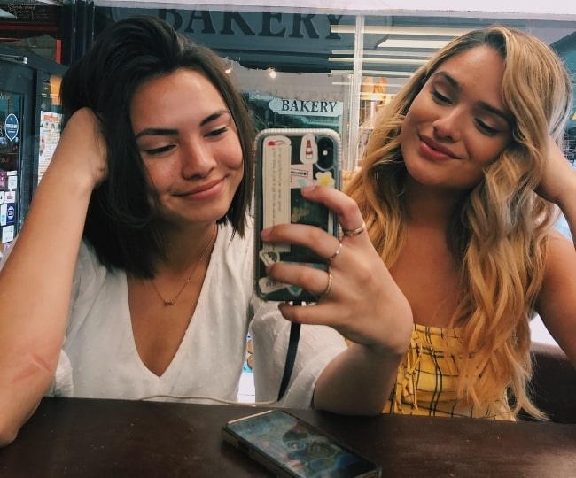 Haley Pham (Left) as seen while taking a mirror selfie with dancer and actress, Chachi Gonzales, in Miami in March 2019