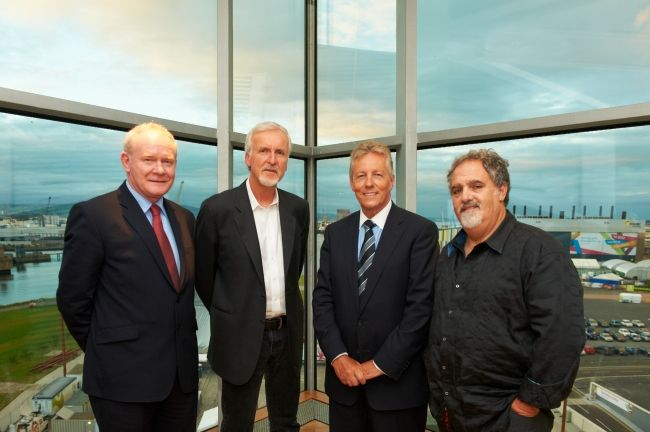 James Cameron and producer Jon Landau visit the Titanic Quarter in Belfast in September 2012