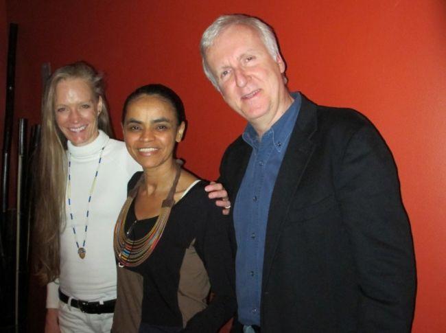 James Cameron with wife Suzy Amis and Brazilian Politician Marina Silva
