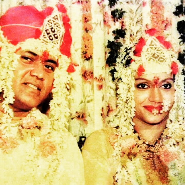 Jayshree T. as seen in a picture with her husband Jayprakash Karnataki on the day of her wedding in 1989