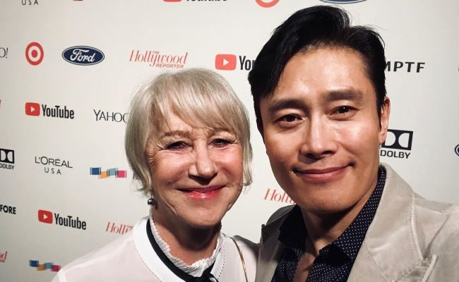 Lee Byung-Hun in an Instagram Selfie with Helen Mirren