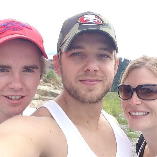 Max Thieriot posing for a selfie with wife Lexi and Freddie Highmore