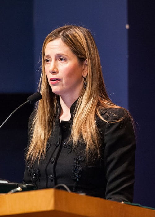 Mira Sorvino at the School of Foreign Service in January 2013