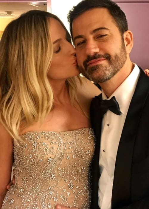 Molly McNearney and Jimmy Kimmel as seen in 2017