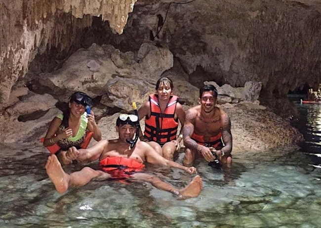 Nico Conte (Corner Right) as seen while enjoying his time with his family at Tulum Cenote in May 2017