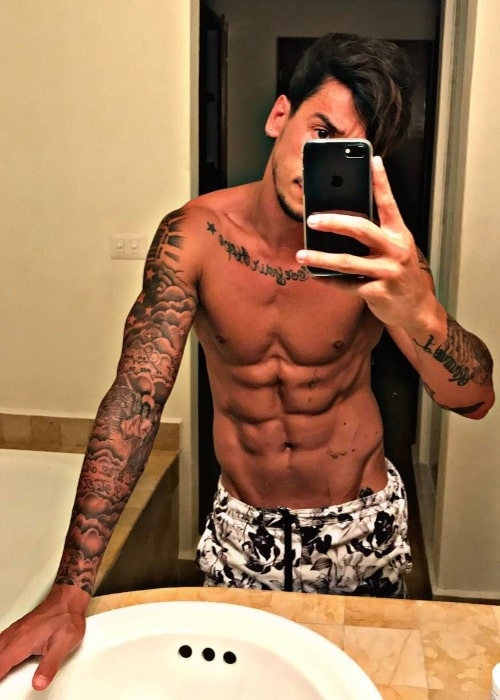 Nico Conte as seen while taking a shirtless mirror selfie in Isla de Cozumel in May 2017