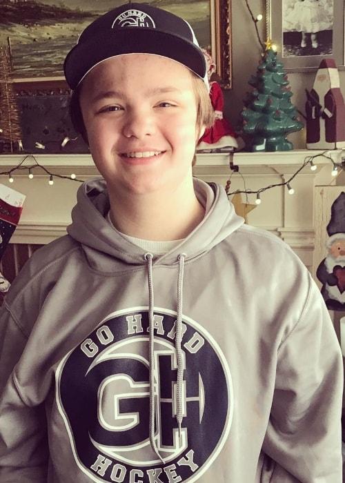 Owen Asztalos as seen while wearing a 'Go Hard Hockey' sweatshirt