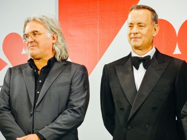 Paul Greengrass (Left) and Tom Hanks at the Tokyo International Film Festival in October 2013
