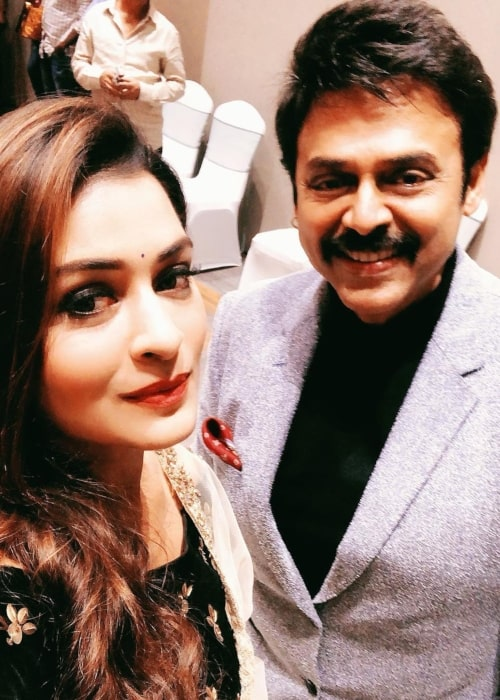 Payal Rajput as seen in a selfie with Venkatesh Daggubati in Hyderabad in March 2019