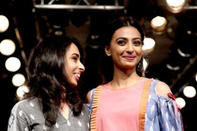 Radhika Apte walks the ramp for Meraki Project at the Lakme Fashion Week in 2016