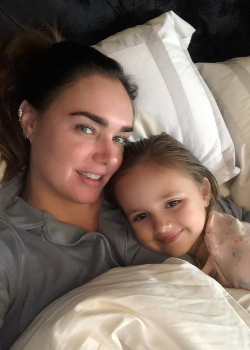 Tamara Ecclestone as seen while taking a bedroom selfie with her daughter, Sophia, while cuddling around her birthday in March 2019