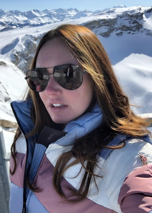 Tamara Ecclestone as seen while taking a selfie with a backdrop of snow-covered mountains at Glacier 3000 Diablerets - Gstaad in February 2019