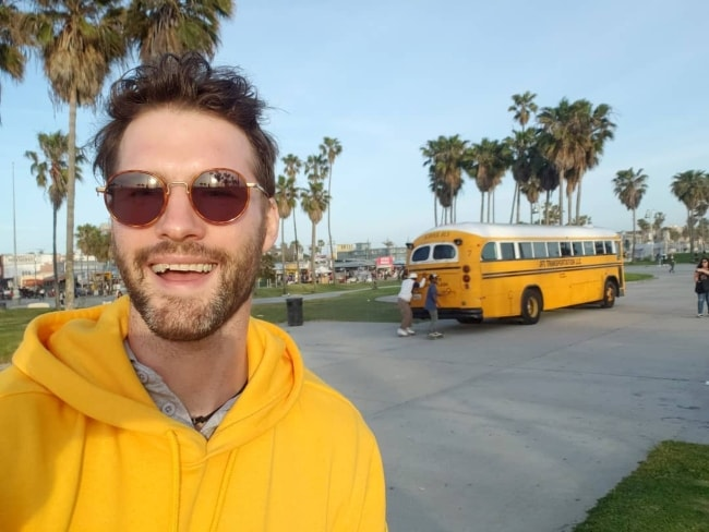 Tomas Skoloudik as seen while taking a Sunday selfie in Los Angeles, California in 2019