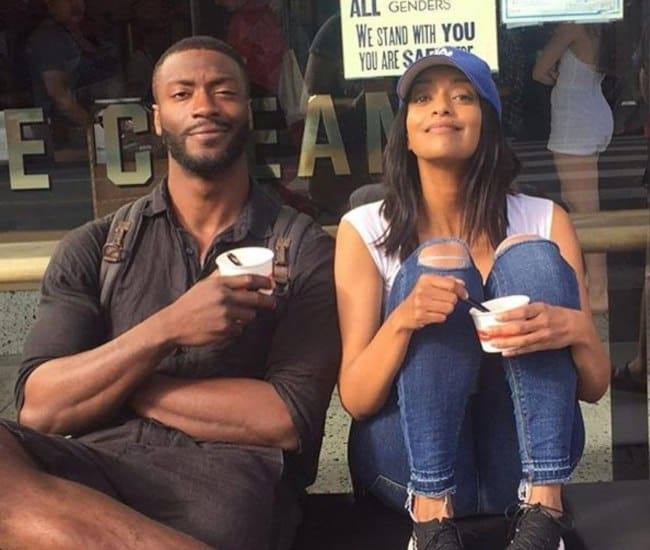 Aldis Hodge and Azie Tesfai as seen in March 2017