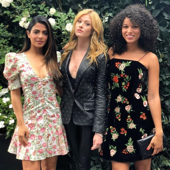 Alisha Wainwright as seen while posing for a picture with Katherine McNamara (Center) and Emeraude Toubia (Left) in May 2019