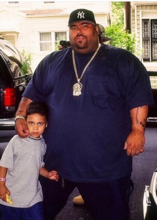 Big Pun as seen while posing for a picture with his youngest son and rapper, Chris Rivers