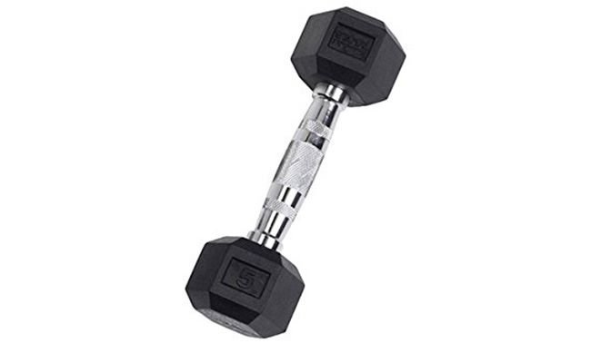 Body-Solid Rubber Coated Hex Dumbbells 3-100 lbs