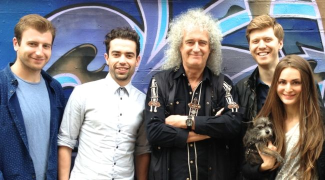 Brian May posing with the 51 Degrees production team outside Sarm Studios in June 2014