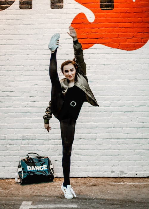 Caroline during a promotional dance photoshoot in 2017