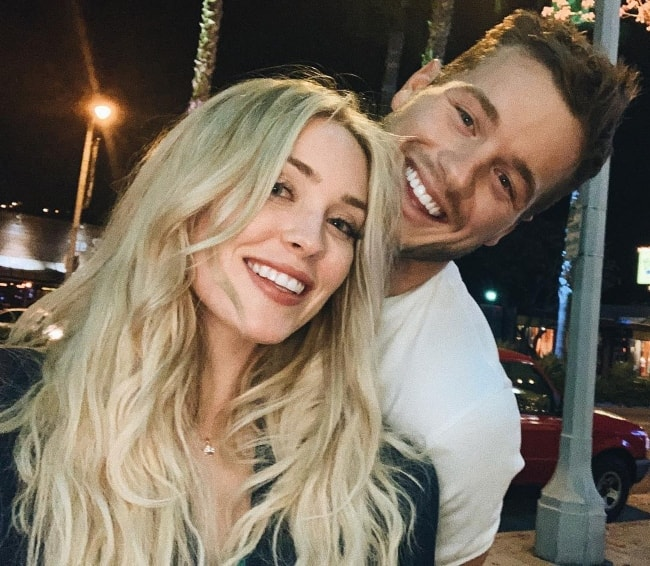 Cassie Randolph as seen while taking a selfie in Ventura Boulevard, California with Colton S. Underwood in April 2019