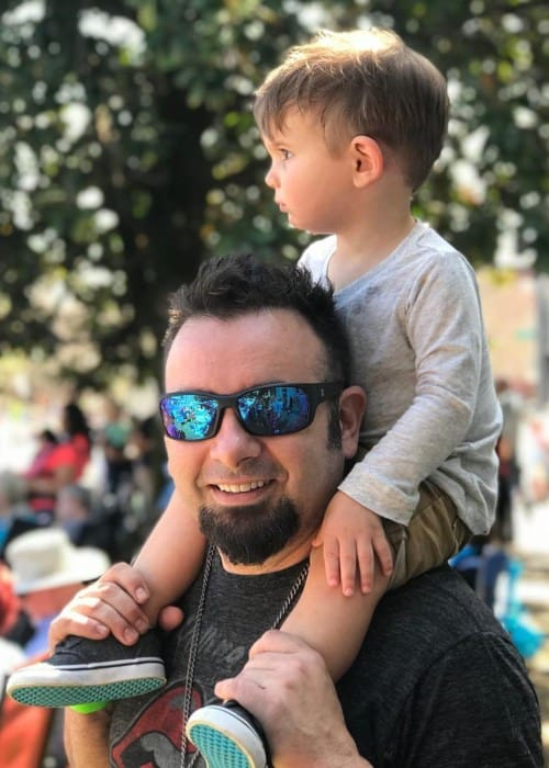 Chris Kirkpatrick with his son as seen in April 2019