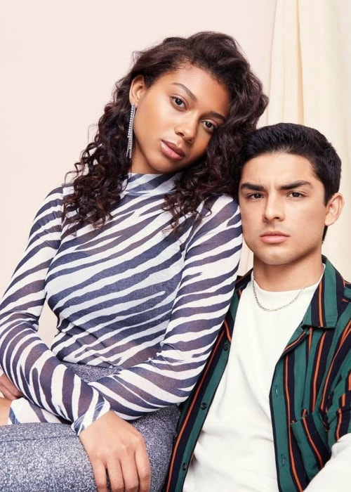 Diego Tinoco as seen in a picture with his on-screen beau Sierra Capri in On My Block in March 2019