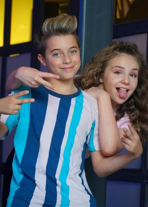 Gavin Magnus and Piper Rockelle as seen while posing goofily for the camera in Los Angeles, California in April 2019