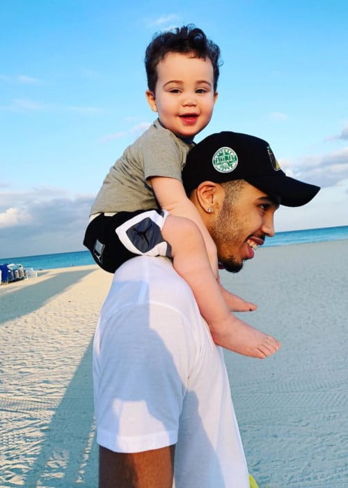 Jayson Tatum with his son as seen in April 2019