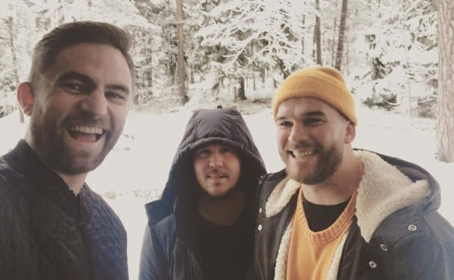 Joel Little as seen while taking a selfie with Australian singer and songwriter, Jarryd James (Center), and Caleb Nott (from the musical duo, 'Broods') (Right), in Enskede, Stockholm, Sweden in February 2017