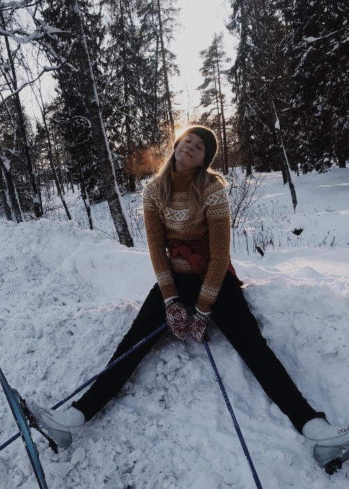 Josefine Frida Pettersen as seen while she is out to enjoy skiing in Sognsvann, Norway in February 2019