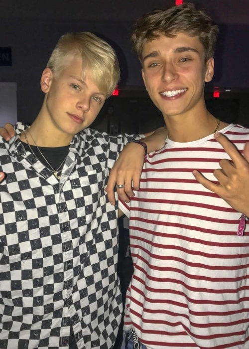 Josh Richards (Right) as seen while posing with singer, songwriter, and guitarist, Carson Lueders, in September 2018